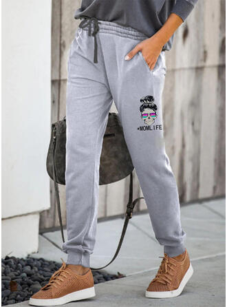 Print Drawstring Casual Sporty Lounge Pants