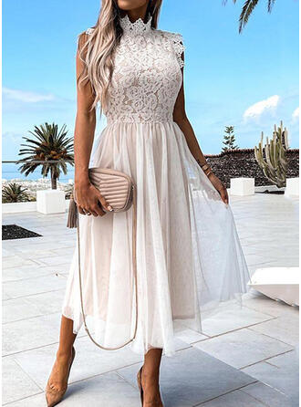 Solid Lace Short Sleeves Small Flying Sleeve A-line Skater Elegant Midi Dresses