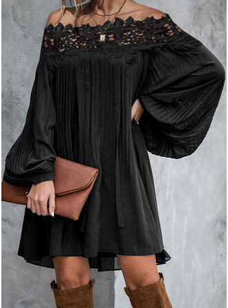 Lace/Solid Long Sleeves Shift Above Knee Little Black/Elegant Dresses