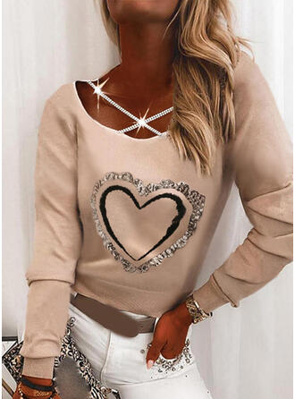 Print Heart Sequins Round Neck Long Sleeves Casual Blouses