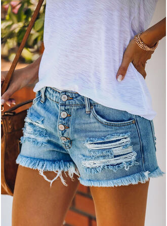Zakken Shirred Gescheurd Mini Casual Sexy Shorts