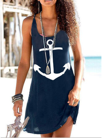 Print/Backless Sleeveless Shift Above Knee Sexy/Casual/Vacation Tank Dresses
