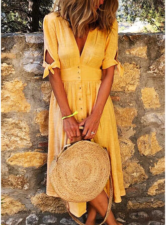 Solid 1/2 Sleeves A-line Skater Casual/Vacation Midi Dresses