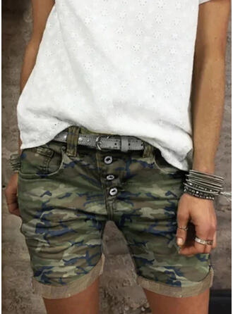 Plus Size Camouflage Casual Vintage Shorts
