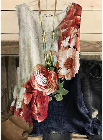 Color Block Floral Print Round Neck Sleeveless Tank Tops