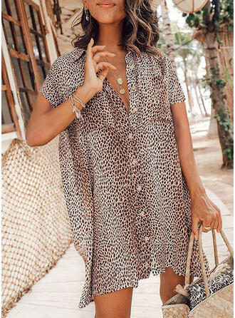 Leopard Short Sleeves Shift Above Knee Casual Shirt Dresses