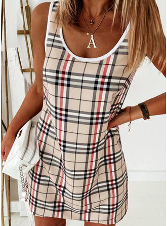 Plaid Sleeveless Shift Above Knee Casual Tank Dresses