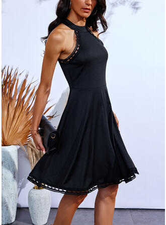 Solid Sleeveless A-line Above Knee Little Black/Casual Skater Dresses