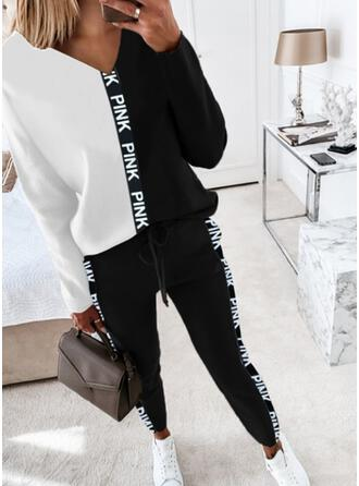 Color Block Print Letter Casual Plus Size Drawstring Pants Two-Piece Outfits
