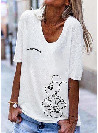 Print Figure V-Neck 1/2 Sleeves Casual T-shirts