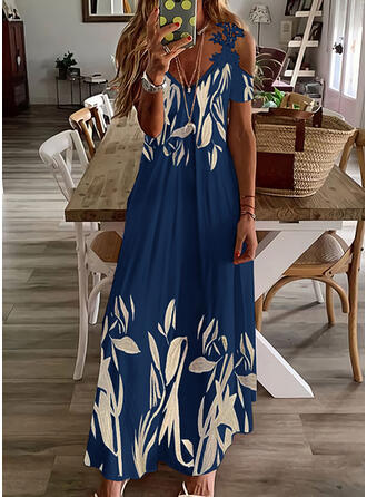 Print Lace Short Sleeves Cold Shoulder Sleeve A-line Skater Casual Maxi Dresses