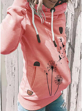 Animal Print Dandelion Pockets Long Sleeves Hoodie