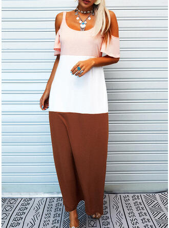 Color Block 1/2 Sleeves Shift Casual/Vacation Maxi Dresses