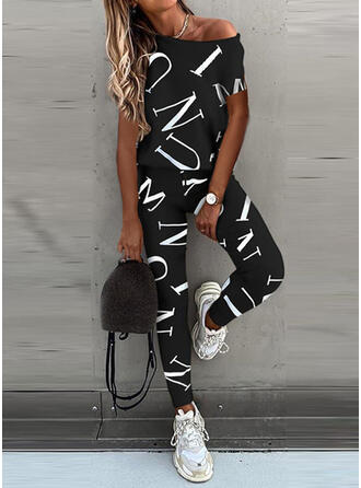 Print Casual Sporty Suits
