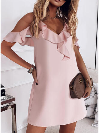 Solid Short Sleeves Shift Above Knee Elegant Dresses
