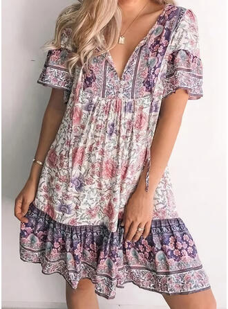 Print/Floral Short Sleeves Shift Above Knee Casual/Boho Tunic Dresses