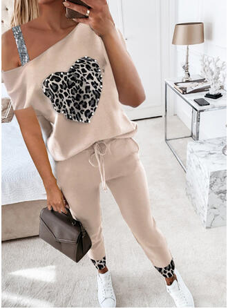 Patchwork Plus Size Leopard Casual Sporty Suits
