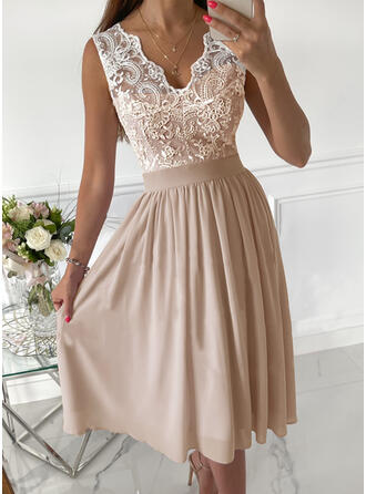 Solid Lace Sleeveless A-line Skater Party/Elegant Midi Dresses