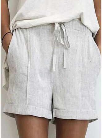 Solid Drawstring Casual Plain Shorts