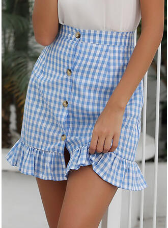 Cotton Blends Plaid Above Knee Flared Skirts