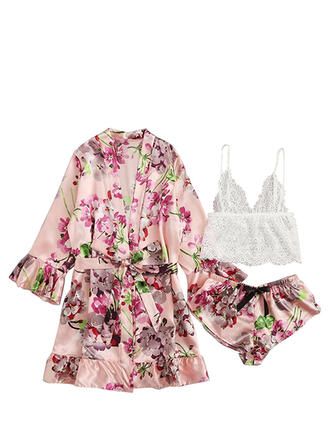 Polyester Lace Lace Solid Sexy Backless Alluring Slip Pyjama Set Shorts