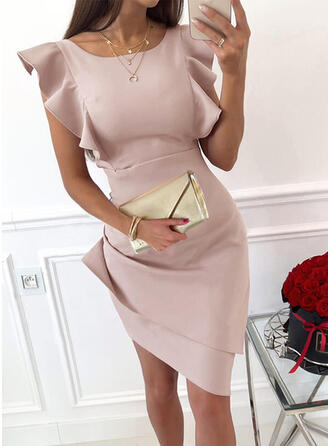 Solid Short Sleeves Ruffle Sleeve Bodycon Above Knee Party/Elegant Dresses