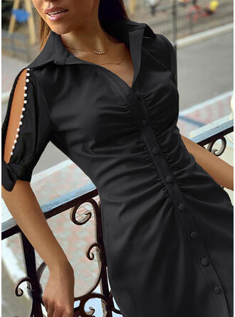 Solid/Beaded 1/2 Sleeves Sheath Above Knee Little Black/Casual Shirt Dresses