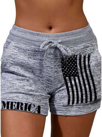 Print Plus Size Drawstring Casual Sporty Shorts