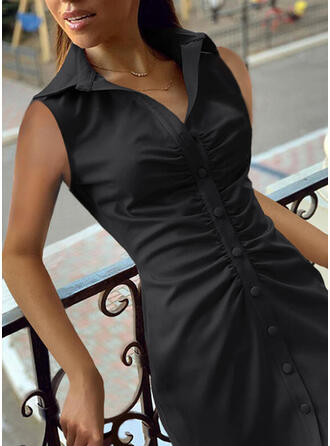 Solid Sleeveless Sheath Above Knee Little Black/Casual Dresses
