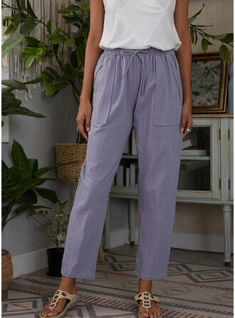 Plus Size Drawstring Casual Solid Lounge Pants
