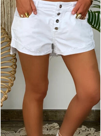 Solid Plus Size Casual Plain Shorts