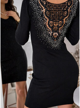 Lace/Solid/Beaded Long Sleeves Bodycon Above Knee Little Black/Party/Elegant Dresses