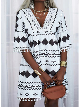 Lace/Print/Tassel 1/2 Sleeves Shift Above Knee Casual Tunic Dresses