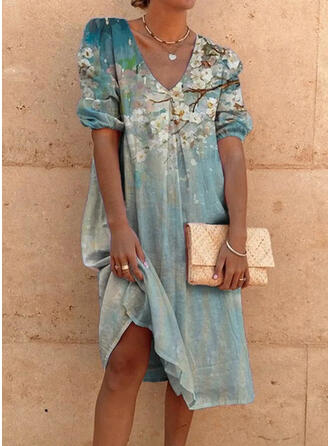 Print/Floral Short Sleeves/Puff Sleeves Shift Knee Length Casual/Vacation Tunic Dresses