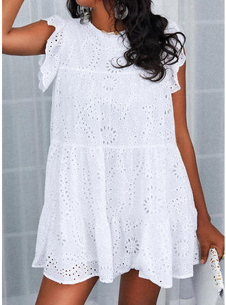 Lace/Solid/Hollow-out Cap Sleeve Shift Above Knee Casual Dresses