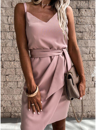 Solid Sleeveless Sheath Above Knee Elegant Slip Dresses