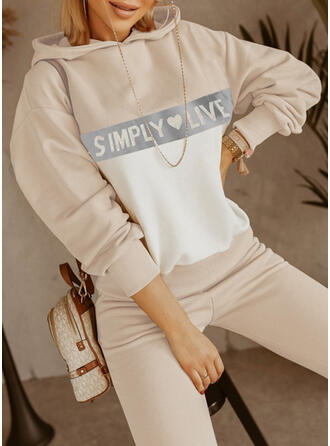 Heart Letter Print Casual Plus Size Sweatshirts & Two-Piece Outfits Set