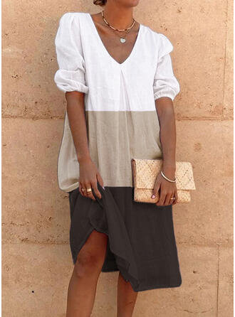 Color Block Short Sleeves/Puff Sleeves Shift Knee Length Casual Tunic Dresses