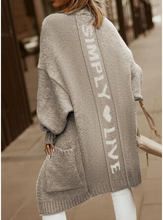 Print Heart Letter Casual Cardigan