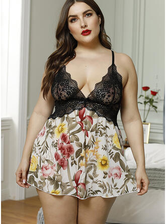 Polyester Spandex Lace Embroidery Floral Plus Size Backless Lingerie Set