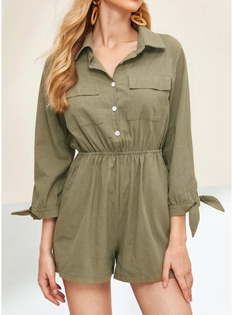 Solid Shirt collar 3/4 Sleeves Casual Vintage Romper