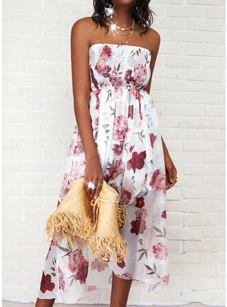 Print/Floral Sleeveless A-line Asymmetrical Casual Skater Dresses