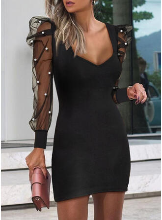 Solid/Beaded Long Sleeves/Puff Sleeves Bodycon Above Knee Little Black/Party Dresses