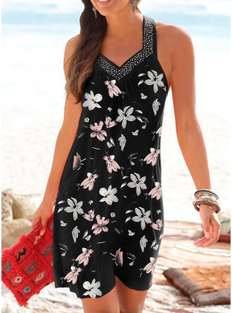 Print/Sequins/Floral Sleeveless Shift Above Knee Casual/Vacation Dresses