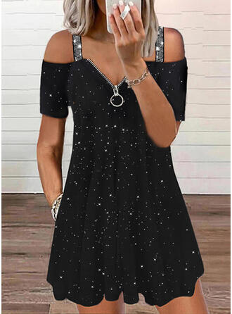 Print Sequins Short Sleeves Shift Above Knee Casual Tunic Dresses