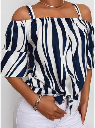 Print Cold Shoulder Flare Sleeve 1/2 Sleeves Casual Blouses