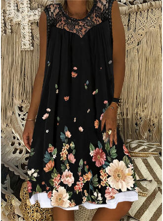 Lace/Floral Sleeveless Knee Length Casual Dresses