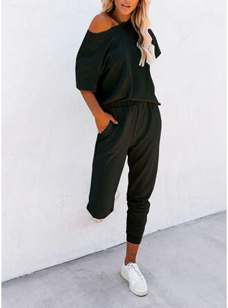 Solid Shirred Plus Size Casual Sporty Suits