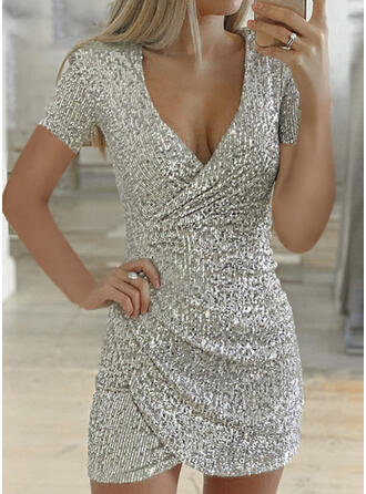 Sequins Short Sleeves Bodycon Above Knee Little Black/Party Dresses