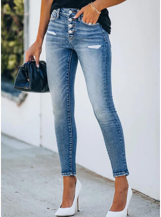 Cropped Casual Plus Size Pocket Shirred Ripped Button Pants Denim & Jeans
